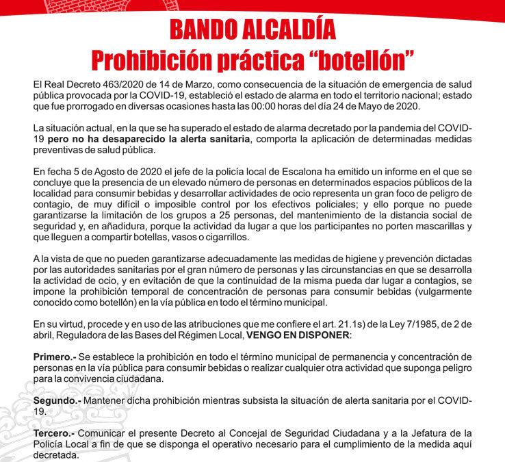 Prohibido «el botellón» en todo el término municipal de Escalona