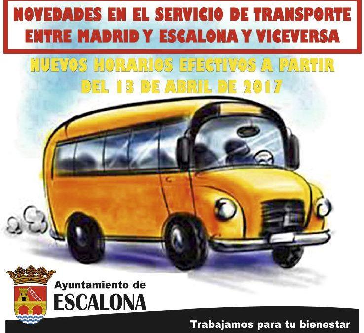 NOVEDADES EN EL SERVICIO DE TRANSPORTE ENTRE MADRID Y ESCALONA Y VICEVERSA: NUEVOS HORARIOS EFECTIVOS A PARTIR DEL 13 DE ABRIL DE 2017