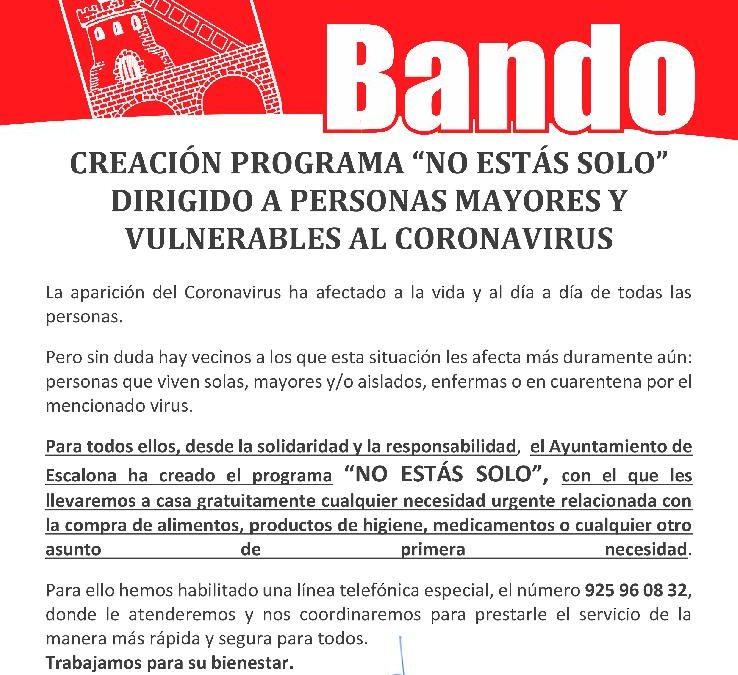 """Creación Programa """"No Estás Solo"""" dirigido a personas mayores y vulnerables al Coronavirus"""