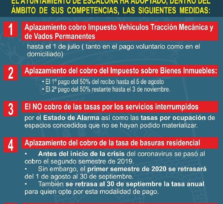Medidas económicas adoptadas por el Ayuntamiento de Escalona debido al Coronavirus Covid-19