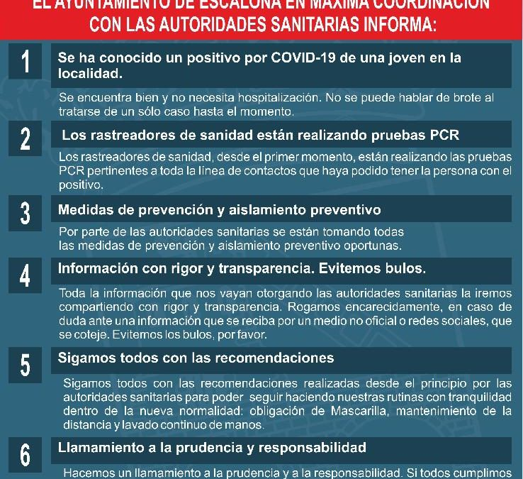 El Ayuntamiento de Escalona en máxima coordinación con las autoridades sanitarias informa: