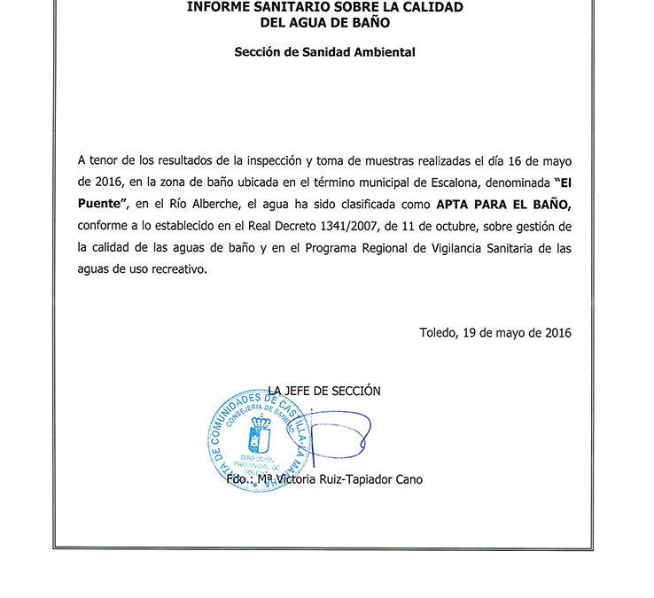 El Ayuntamiento de Escalona confirma que el río Alberche a su paso por la localidad es APTA PARA EL BAÑO
