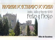 Programa de Ferias y Fiestas Verano 2010 - Ayuntamiento de Escalona
