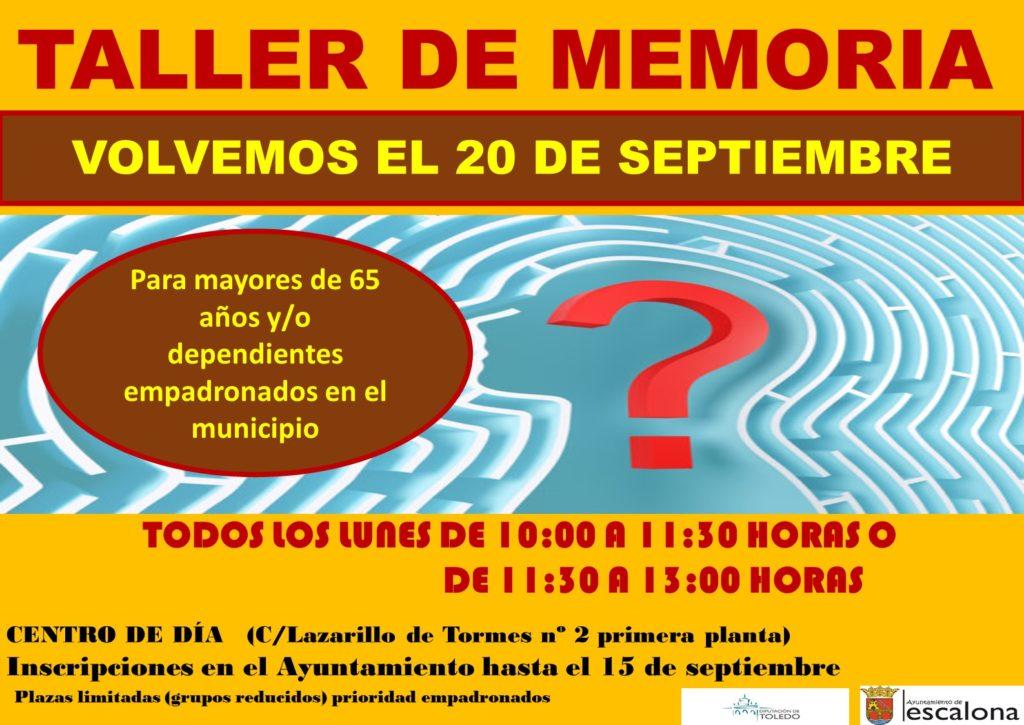 """Taller de memoria 2021-2022 - Proyecto mayores """"mente activa, cuerpo activo"""" - Ayuntamiento de Escalona"""