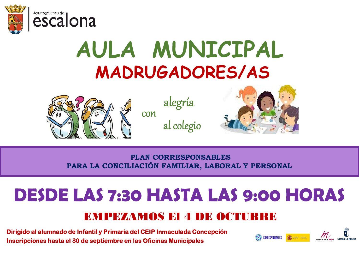 NUEVO SERVICIO MUNICIPAL AULA MADRUGADORES/AS