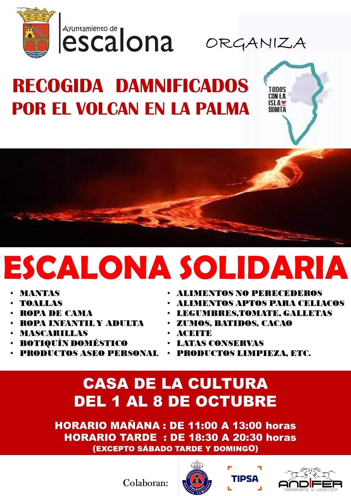 Recogida solidaria damnificados por el volcán de La Palma - Ayuntamiento de Escalona